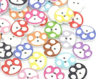 "Animal Pawprint Wooden Buttons, 14.0mm( 4/8"") x 16.0mm( 5/8""). Cat, Dog, Bear. Lion etc. Ideal for sewing, knitting, card making, scrap book"