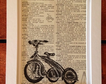 Original artwork: Tricycle on vintage dictionary paper