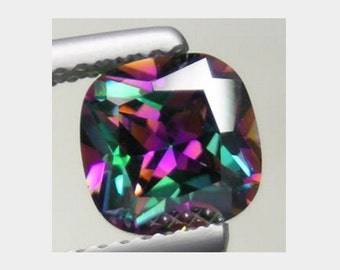 7x7 mm. awesome cushion rainbow color mystic topaz loose gem