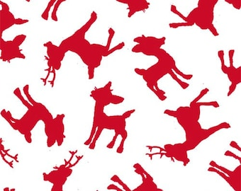 Rudolph the Red Nose Reindeer Christmas Fabric, Quilting Treasures 23954-R, Rudolph and Friends, Red and White Christmas Fabric, Cotton