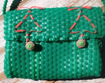 vintage 70's woven plastic lanyard purse/ bright grren and pink / messenger bag style/ funky retro purse