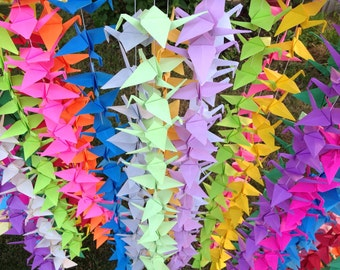 1000 Origami Cranes On String- 50 strands - Set of 20- Custom Any Color