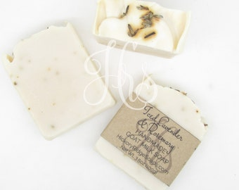Iced Lavender & Rosemary Goat Milk Soap - Homemade Soap, Handmade Soap, Cold Process Soap by Hickory Ridge Soap Co.