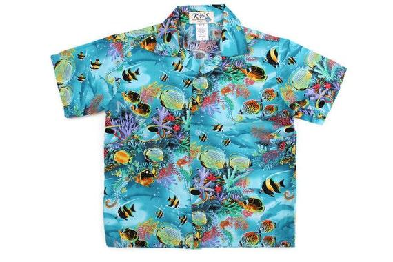 Vintage boys hawaiian shirt teal blue tropical fish short for Fish hawaiian shirt