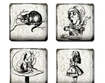 80% off SaLe Alice in Wonderland Steampunk Images for Jewelry Making 1 inch Square Tile Digital Collage Sheet Digital Instant Download