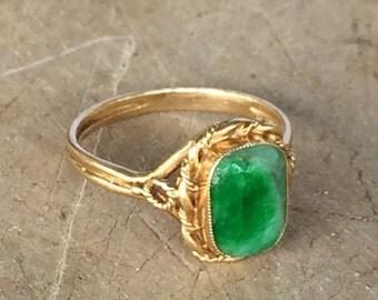 Vintage Jade Ring / Gold