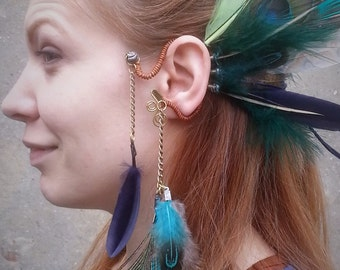 Festival Ear Cuff Ibiza style blue green peacock feathers