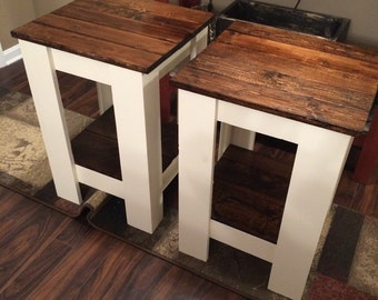 White with dark walnut tops night stands end tables wood