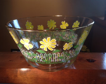 Signed Culver Ice Bucket/Large Bowl-White Picket Fence With Yellow Daisies/Green Grass