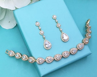 Gold Bridal bracelet Set, wedding bracelet earrings set, cz cubic zirconia bracelet, bridal jewelry, gold pear cz bracelet 471644766