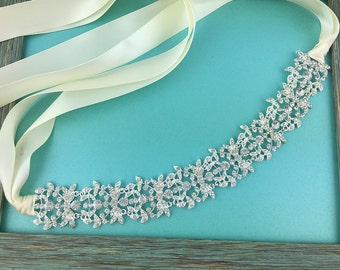 Wedding Ribbon Headband, crystal ribbon headband, wedding headpiece, rhinestone tiara, rhinestone, crystal bridal accessories 250972527