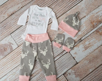 Religious Baby Deer Antlers/Horns Pants, Hat, Scratch Mitts Set with Grey and Pink + For This Girl We Prayed Bodysuit Newborn Coming Home