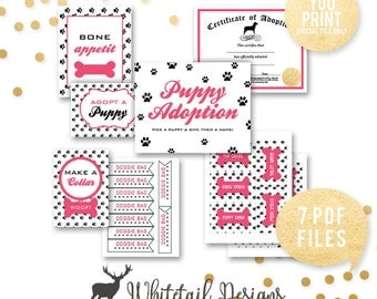 Puppy Adoption Party, Pink Puppy Adoption Birthday Party, Adoption Party Signs, Puppy Party, Puppy birthday printables, YOU PRINT, DIGITAL