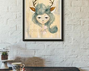 Dia de Los Muertos Deer Girl Original Artwork