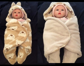 HOLIDAY SALE 30% DISCOUNT Baby Sleep sack, newborn swaddle sack in color brown with teddy bear.