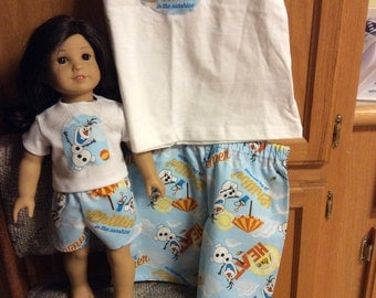 Summer fun with Olaf, matching girl and doll pajamas