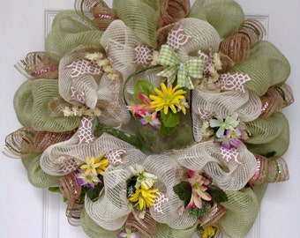 Spring Garden With Watering Can Deco Mesh Wreath