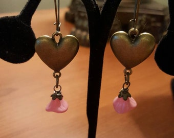Antique Bronze Love Heart Charm 20 x 23mm with Pink Wildflower Wire Wrapped Dangle Earrings