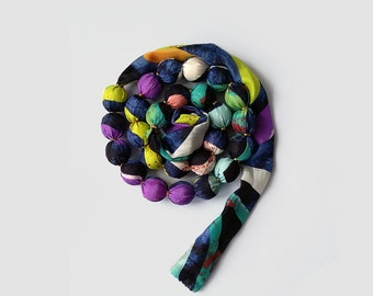 Ribbon tie necklace, adjustable short necklace, color and black silk scarf beaded necklace, handmade unique popular necklaces, wearable gift