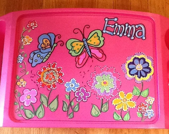 Girls activity tray, girls lap tray, girls TV tray, butterfly lap tray, butterfly TV tray, kids game tray, girls arts craft tray