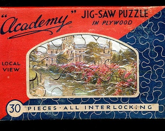 "Circa 1910 J Salmon English Plywood Puzzle in Envelope  4"" x 5 3/4"""