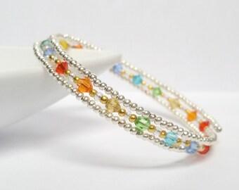 Swarovski crystals silver rainbow.  Memory wire bracelet. Wrap bracelet