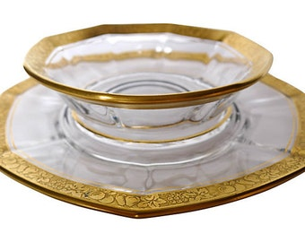 Elegant Tiffin Glass Serving Bowl and Plate With Gold Gilt