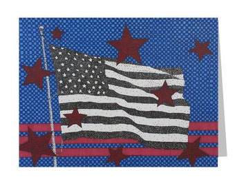 American Flag Card - Patriotic Card - Red White Blue - Star Stationery - 4th of July Card - Card For Veteran - Veteran's Day - USA Blank