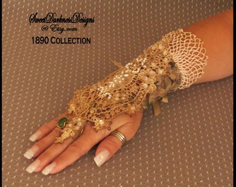 Steampunk Glove TAPESTRY FINGERLESS GLOVE Victorian Glove Vintage Ivory Lace & Pearls Steampunk Tapestry Clothing by SweetDarknessDesigns