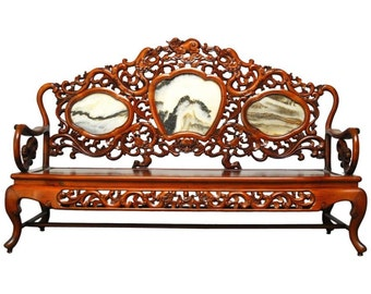 Chinese Rosewood And Marble Dali Carved Sofa Bench
