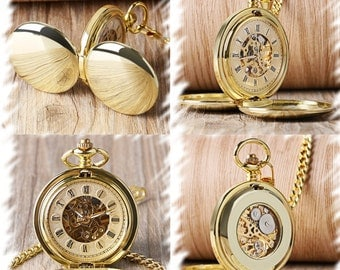 Double Cover Mechanical Pocket Watch , Groomsmen Gift , Engraved Mens Pocket Watch, Monogrammed Watch, Gift for Groom