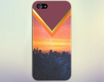 Chevron Sunset x Starry Forest Phone Case, iPhone 7, iPhone 7 Plus, Tough iPhone Case, Galaxy s8, Samsung Galaxy Case, Note 5, CASE ESCAPE