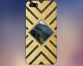 Gold Glitter x Mountain Forest Geometric Design Phone Case for iPhone 6 6 Plus iPhone 7  Samsung Galaxy s8 edge s6 and Note 5 4