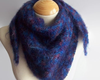 Mohair shawlette, Knit Shawlette, Purple shawlette, Purple Shawl, Knit Shawl, Knitted Scarf, Gift for Her, Gift for Mum, Valentines Gift