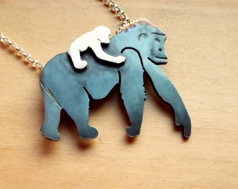 Gorilla Mother and Daughter Necklace
