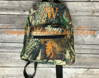 MINI Mossy Oaks or Army Green Camo Backpack w/FREE Name/monogram Great for toddlers or Pre-schoolers can add a Fish, doe, buck or tractor