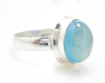 Blue Chalcedony gemstone silver ring