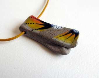 ceramic pedant - ceramic necklace - ceramic red pedant - hand made pedant - pedant