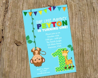 Our Little Monkey Party Birthday Invitation