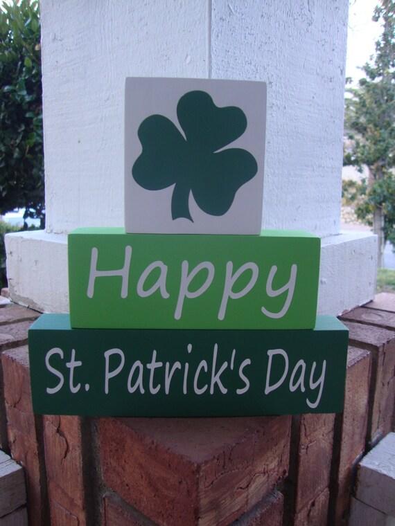 Happy st patrick 39 s day wood blocks stacker home decor for St patrick s day home decorations