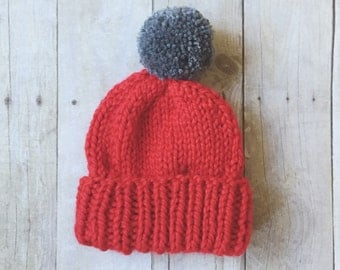 Chunky Ribbed Cuff Toddler Toque (red & grey)