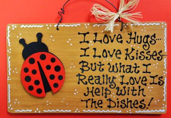 Https Www Etsy Com Listing 267668284 Stained Sign Ladybug Hugskissesdishes