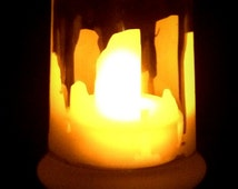 Outlander Inspired Standing Stones sand etched Glass Candle Holder