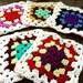 Vintage Crochet Grannie Squares ~ Set of 5 ~ Rainbow Pot Holders