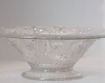 Clear Sandwich Glass Compote...Tiara Clear Console Bowl...Indiana Glass Co.