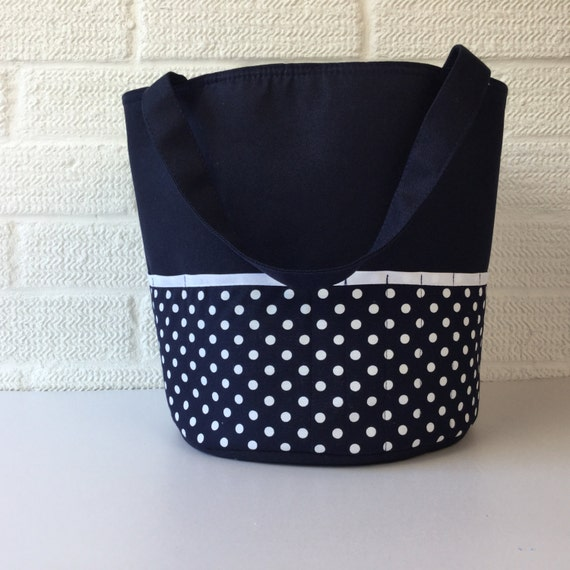 Quilted Knitting Bag Pattern : Navy blue quilted knitting bag yarn project organiser