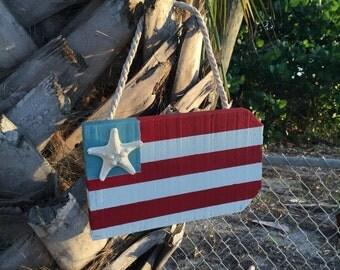 Patriotic wood coastal beach flag