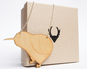 Kiwi necklace - birch plywood pendant and sterling silver chain