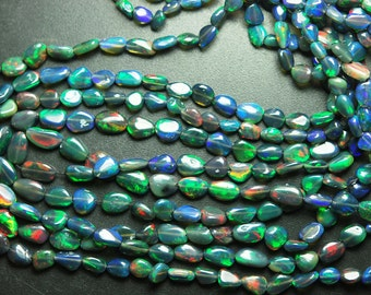 16 Inches, Full Strand, Super Fully Flash Black Opal Smooth Polished Nuggets, Size 8-5mm