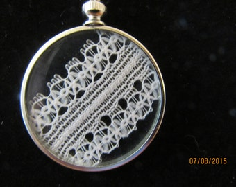 Antique Lace Pendant with Silverplate Chain
